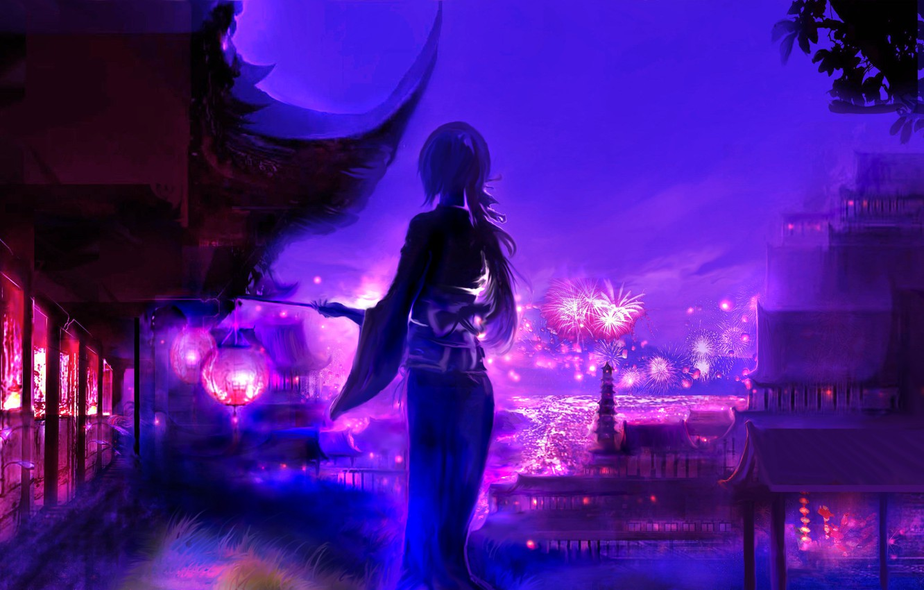 Photo wallpaper girl, night, the city, fireworks