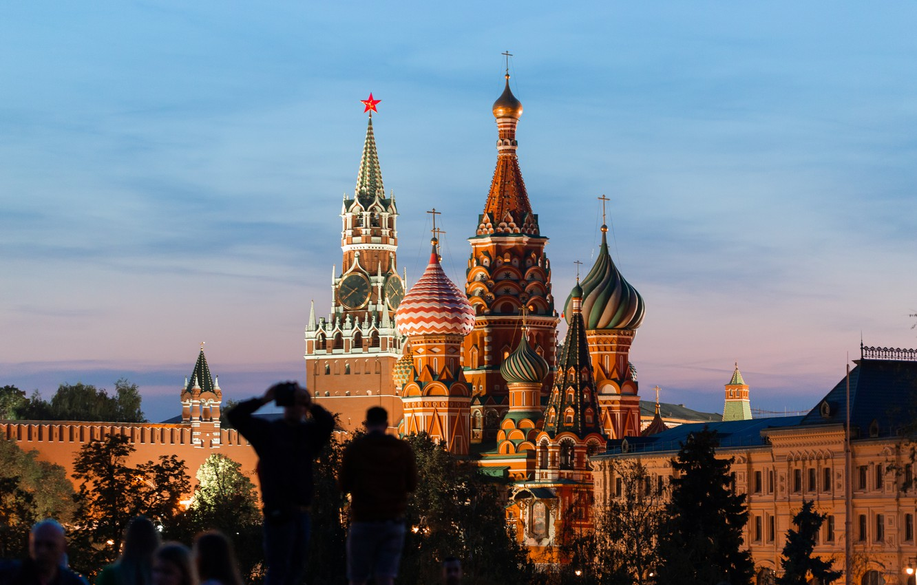 Photo wallpaper Sunset, The evening, The city, Moscow, The Kremlin