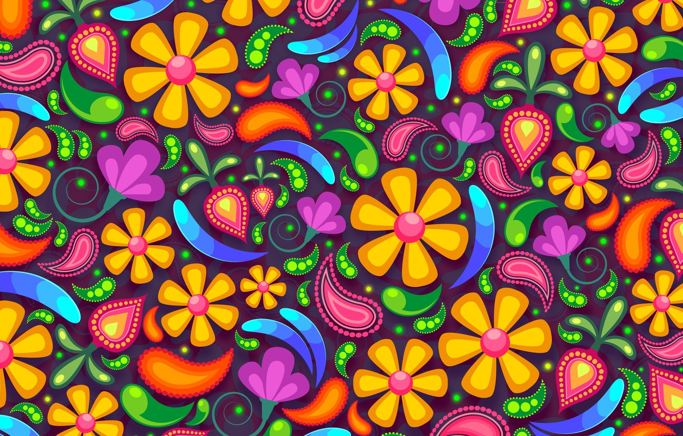 Photo wallpaper flowers, background, patterns, graphics, texture