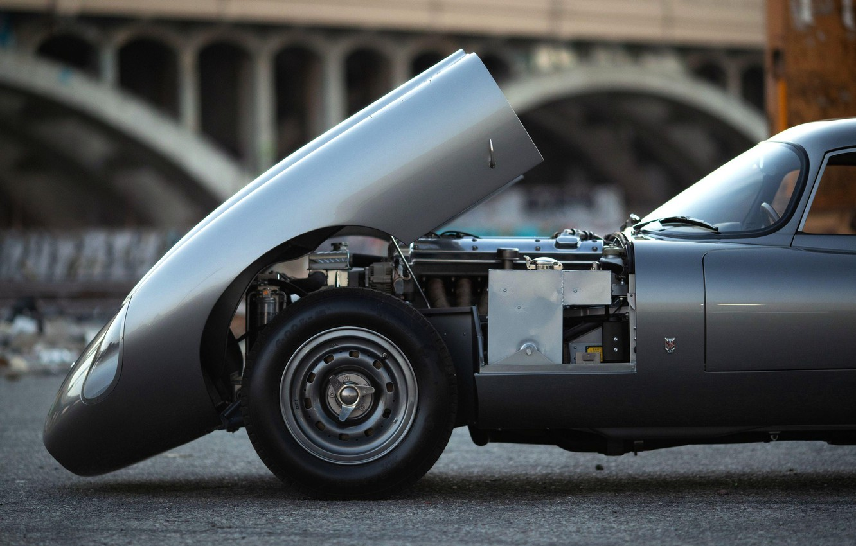 Photo wallpaper Grey, The hood, Engine, Jaguar E Type