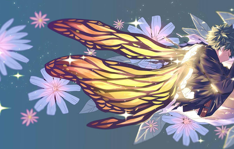 Photo wallpaper flowers, butterfly, wings, guy, Boku no Hero Academy, Midori Isuku, My heroic academia, Izuku Midoriya