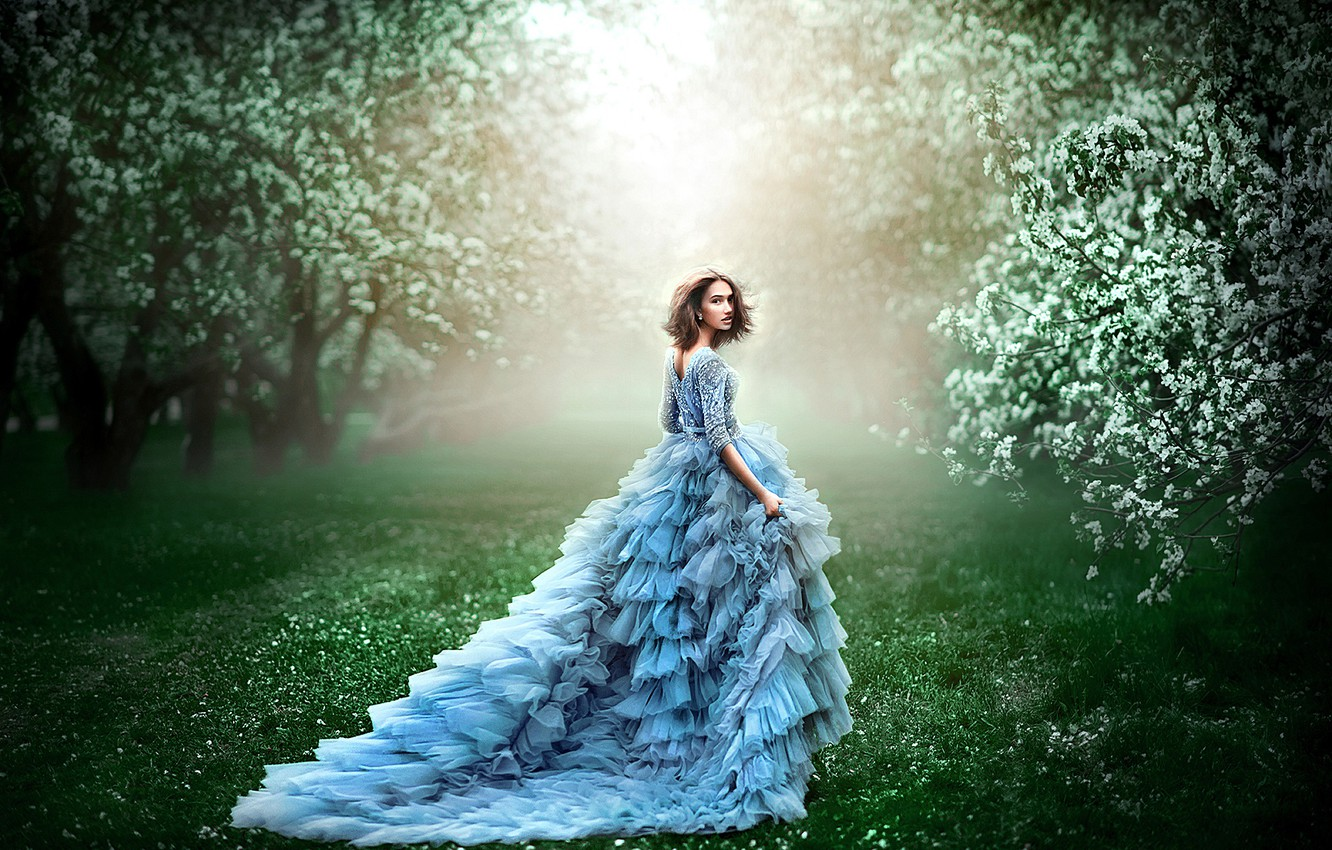 Photo wallpaper greens, grass, girl, trees, flowers, branches, nature, pose, fog, lawn, blue, glade, spring, morning, garden, ...