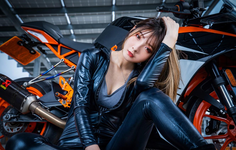 Photo wallpaper look, pose, model, portrait, makeup, hangar, hairstyle, costume, motorcycle, brown hair, bike, Asian, sitting, on …
