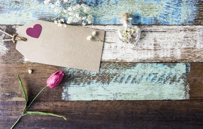 Photo wallpaper love, flowers, heart, tulips, love, pink, vintage, heart, wood, pink, flowers, beautiful, romantic, tulips
