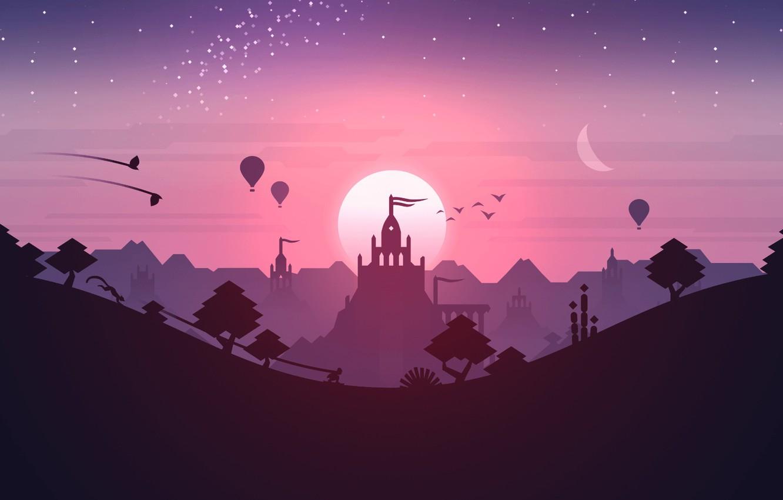 Photo wallpaper Pink, Android, Purple, Games, Stars, Landscape, Sunset, Temple, iOS, Minimalism, Hill, Minimalism, Dunes, Noodlecake Studios …