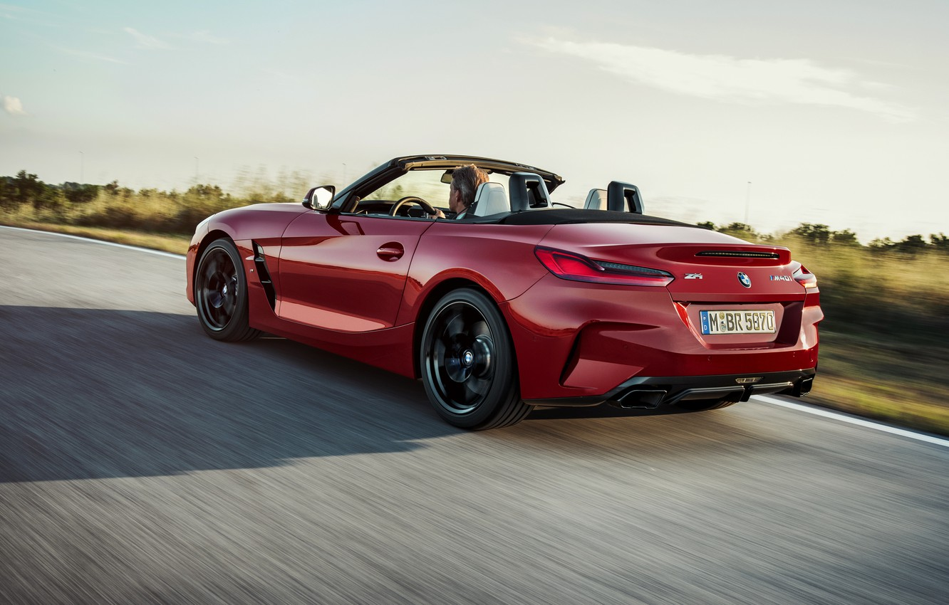 Photo wallpaper road, red, BMW, back, Roadster, BMW Z4, First Edition, M40i, Z4, 2019, G29
