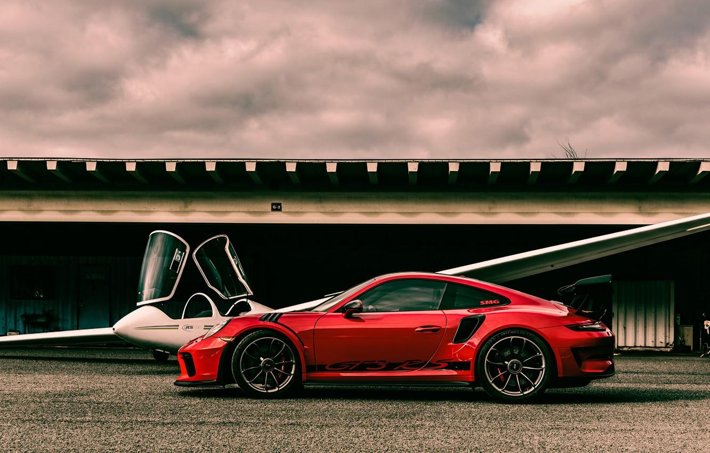 Photo wallpaper red, sports car, the plane, Porsche 911, Porsche 911 GT3 RS, glider