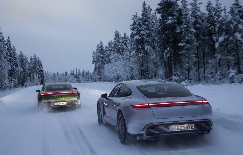 Photo wallpaper winter, snow, Porsche, on the road, 2020, Taycan, Taycan 4S