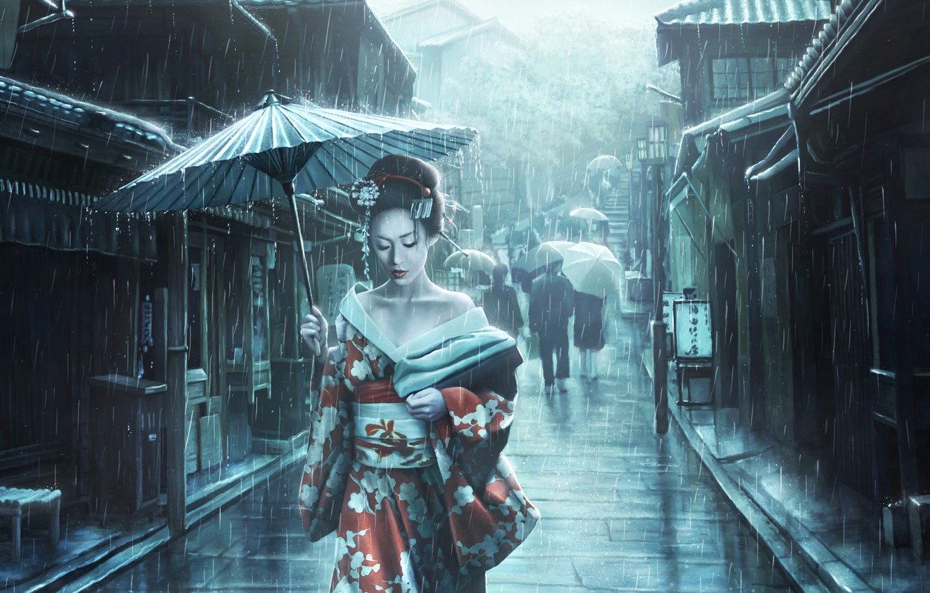 Wallpaper Girl Japan Street Rain Asian Umbrella Umbrella