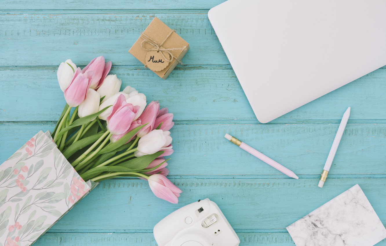 Photo wallpaper gift, bouquet, the camera, tulips, composition