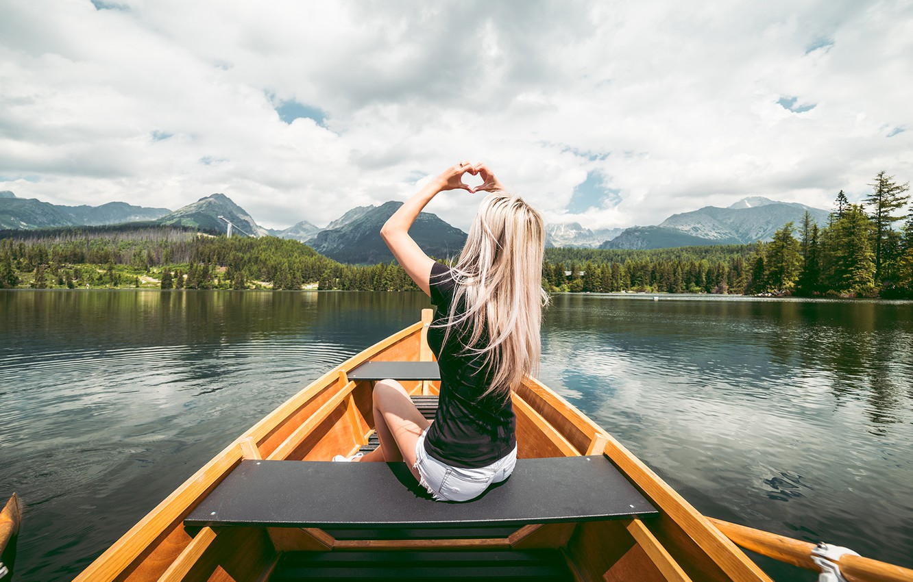 Photo wallpaper forest, the sky, girl, mountains, boat, blonde
