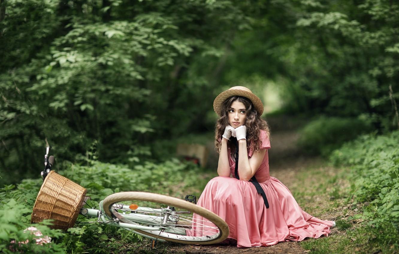 Photo wallpaper summer, look, girl, nature, bike, pose, basket, model, hat, dress, Anastasia Barmina