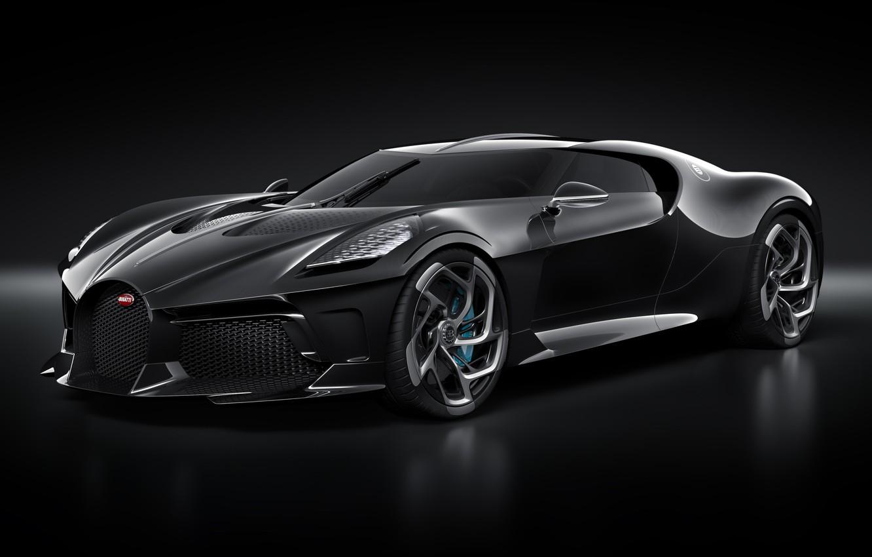 Photo wallpaper machine, lights, Bugatti, drives, stylish, hypercar, The Black Car