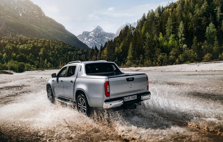 Photo wallpaper squirt, Mercedes-Benz, pickup, mountain river, 2018, X-Class, gray-silver