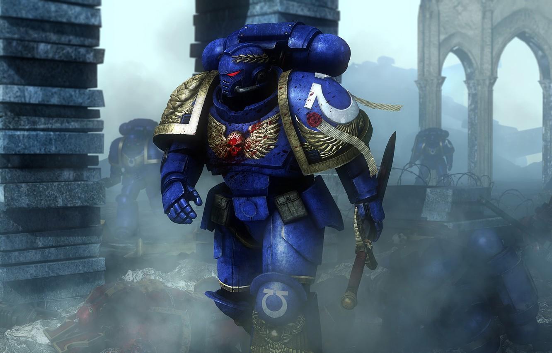 Wallpaper War Sword Helmet Space Marine Warhammer 40000