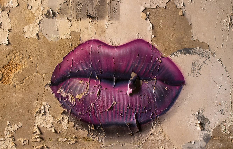 Photo wallpaper background, wall, lips