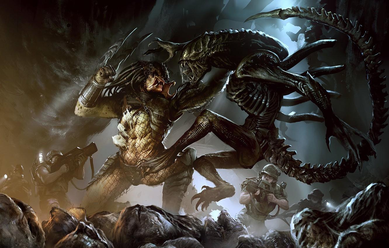 Photo wallpaper Stranger, Predator, Art, Predator, Alien vs Predator, Darek Zabrocki, Alien vs Predator, AVP: COVER, by ...