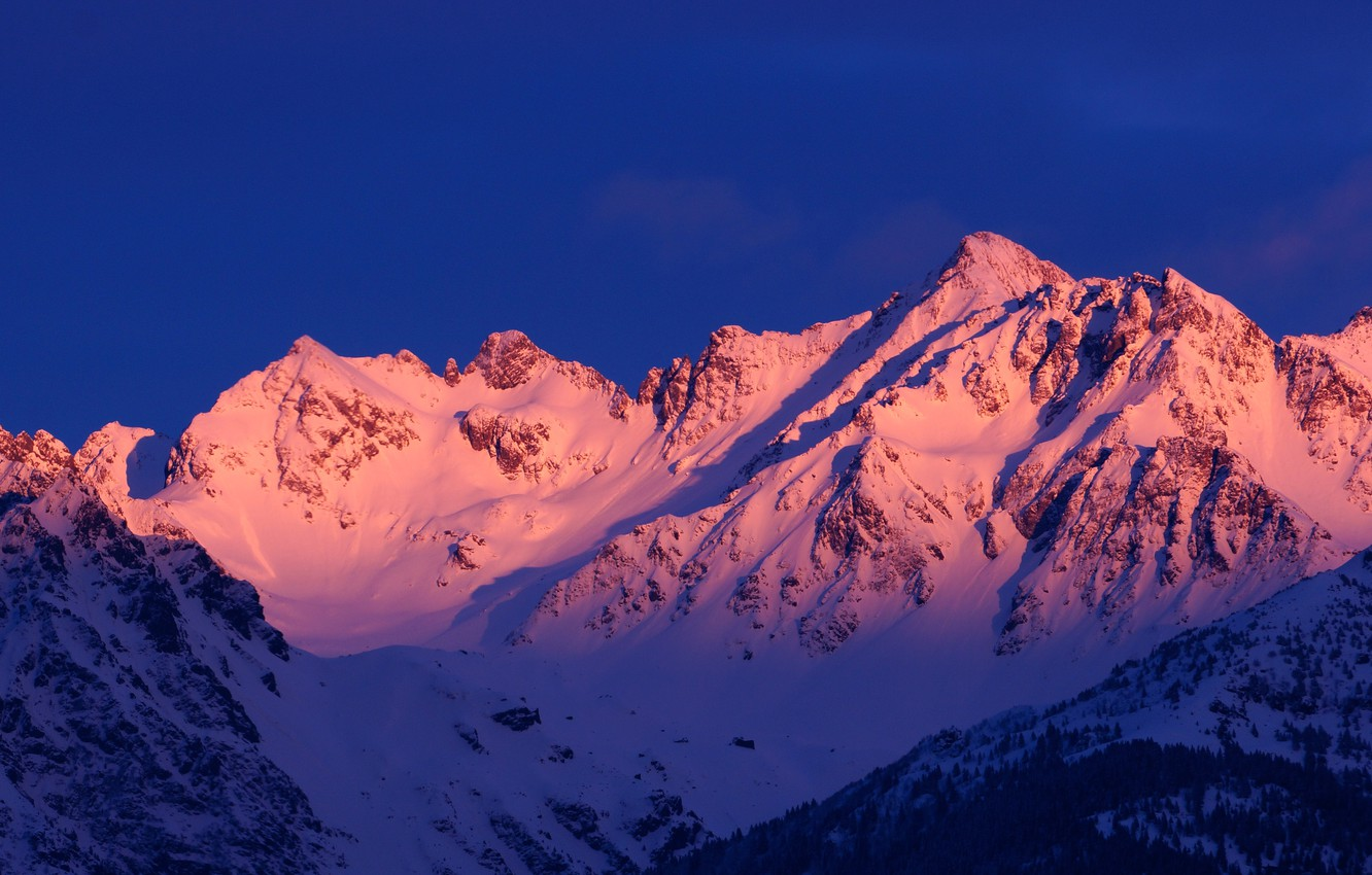 Photo wallpaper winter, the sky, snow, trees, mountains, nature, rocks, dawn, France, Alps