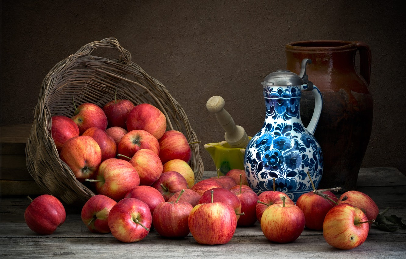 Photo wallpaper the dark background, apples, food, dishes, pitcher, fruit, still life, composition