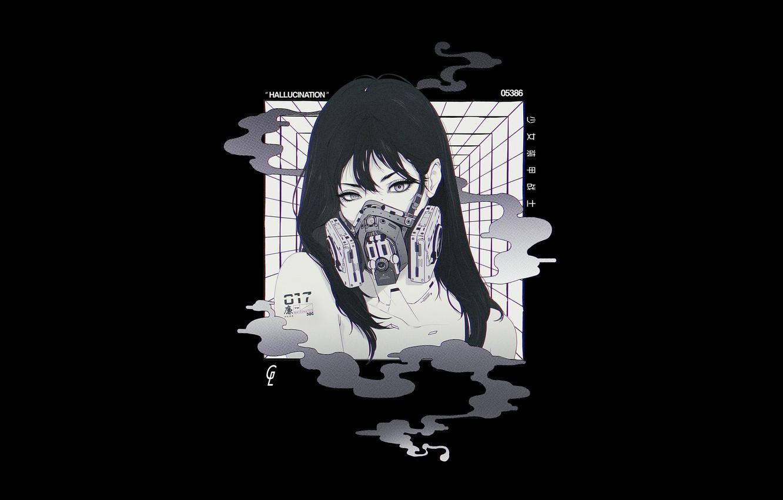 Photo wallpaper Girl, Minimalism, Style, Asian, Girl, Mask, Art, Art, Asian, Respirator, Style, Minimalism, Cyberpunk, Cyberpunk, BW, …