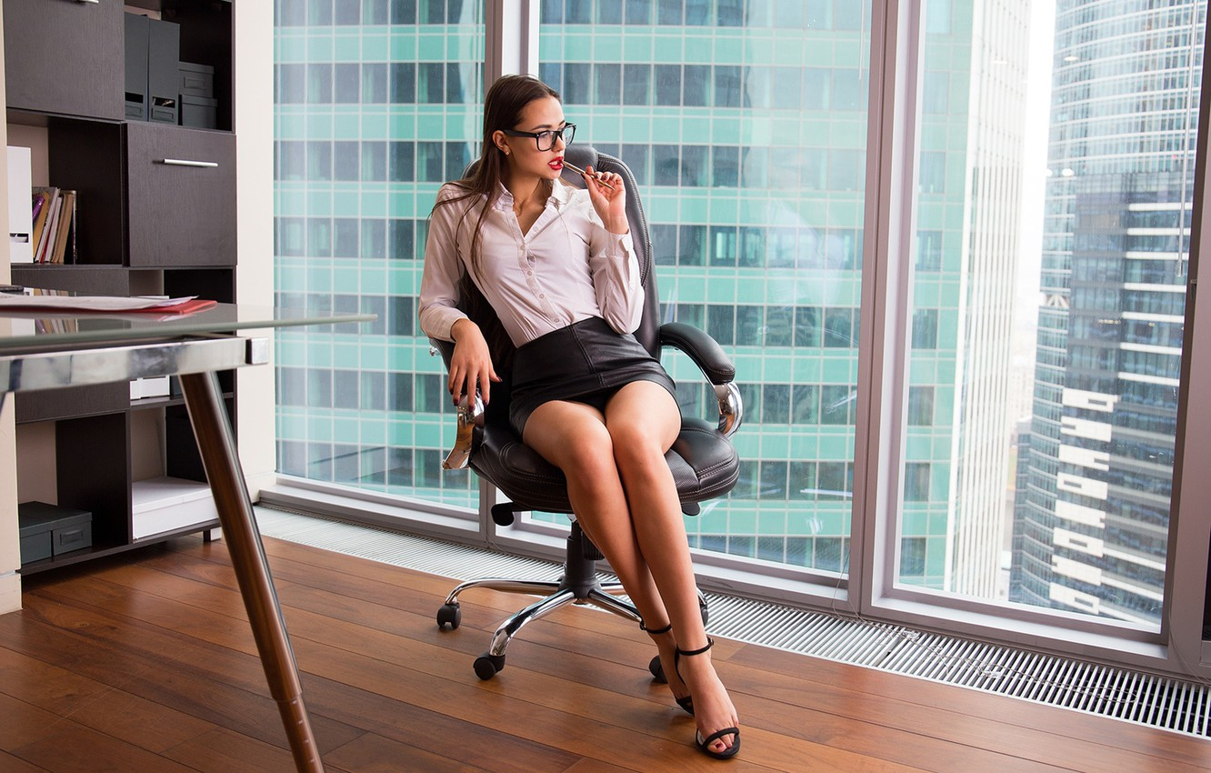 Photo wallpaper pose, model, skirt, portrait, makeup, figure, glasses, hairstyle, handle, office, shoes, blouse, brown hair, legs, …