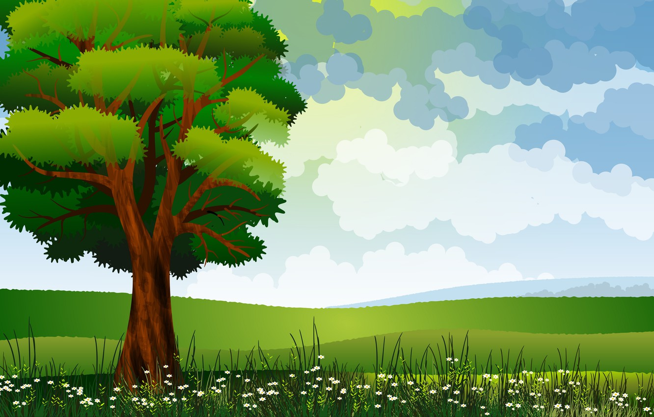 Photo wallpaper field, grass, tree, vector