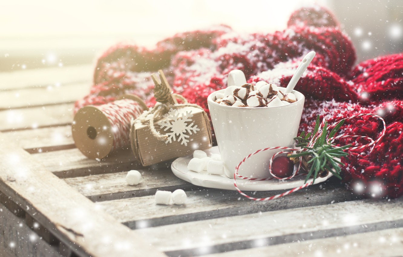Photo wallpaper winter, snow, Cup, cup, Chocolate, hot chocolate, marshmallows