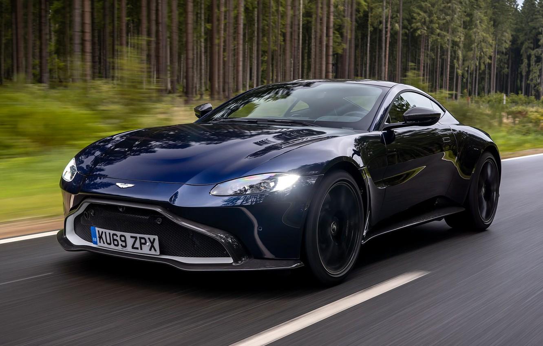 Photo wallpaper road, machine, forest, asphalt, Aston Martin, 2020, Aston Martin Vantage AMR