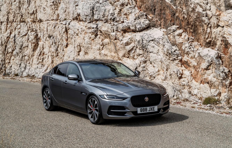Photo wallpaper rock, Jaguar, sedan, four-door, 2020, gray-silver, Jaguar XE