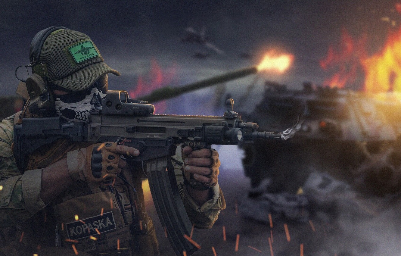 Photo wallpaper Soldiers, Weapons, Machine, Fighter, Male, Military, Army, Illustration, Concept Art, Soldier, Equipment, Indonesia, Balaclava, Kopaska, …