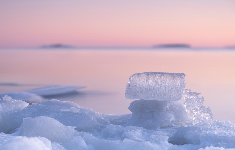 Photo wallpaper winter, macro, sunset, ice