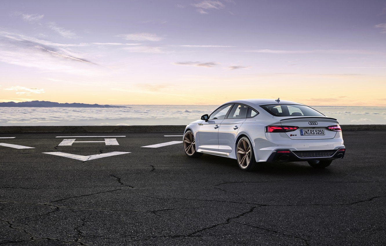 Photo wallpaper sunset, Audi, the evening, rear view, RS5, Sportback, RS 5, 2020