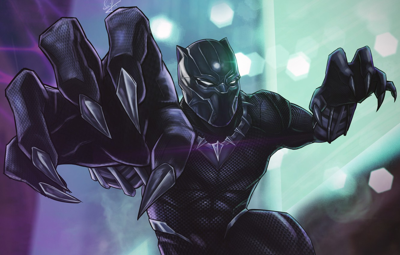 Photo wallpaper Art, Style, Marvel, Comics, Illustration, Characters, Superhero, Costume, Black Panther, Claws, Saif Z.K