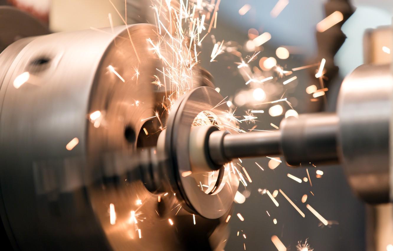 Photo wallpaper metal, sparks, lathe, metalworking