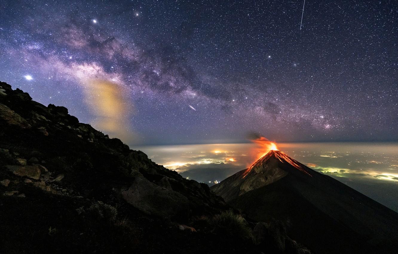 Photo wallpaper the sky, stars, meteor, the volcano, The milky way, sky, stars, Milky Way, Guatemala, Guatemala, …