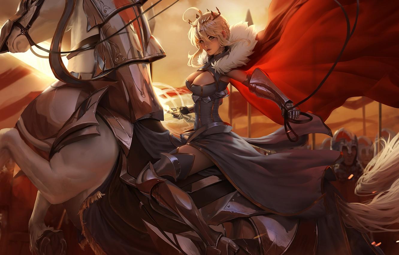 Photo wallpaper armor, crown, rider, neckline, Lancer, corset, knights, red coat, white horse, Astoria, Fate / Grand …