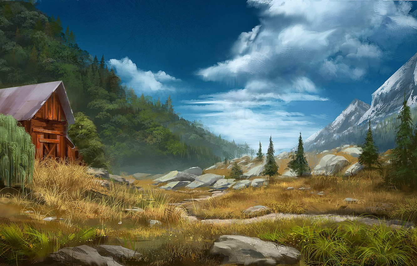 Photo wallpaper mountains, stones, valley, building, Daily sketch