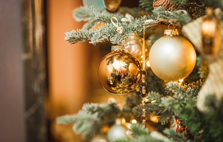 Photo wallpaper balls, balls, spruce, Christmas, New year, tree