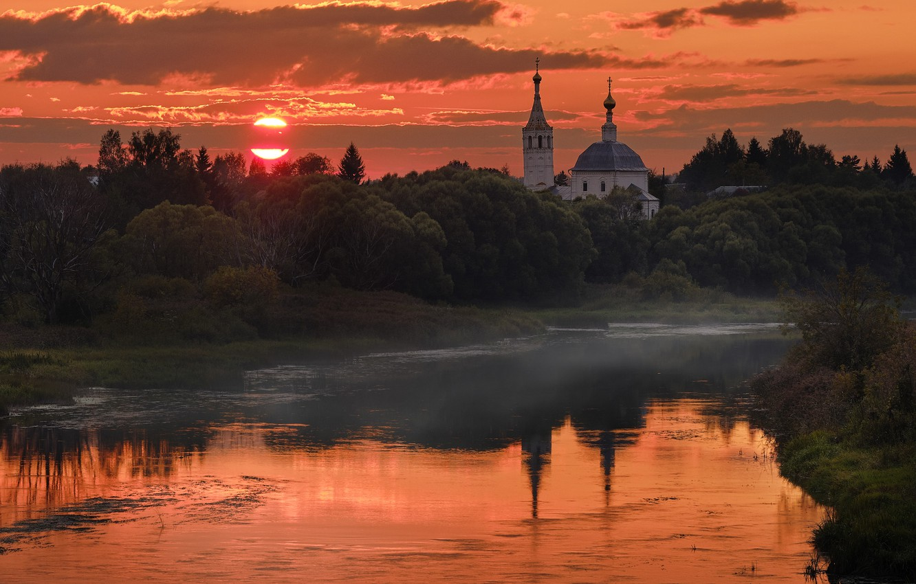 Photo wallpaper the sun, trees, landscape, sunset, nature, vegetation, the evening, Church, the bushes, Bank, river, Gregory …