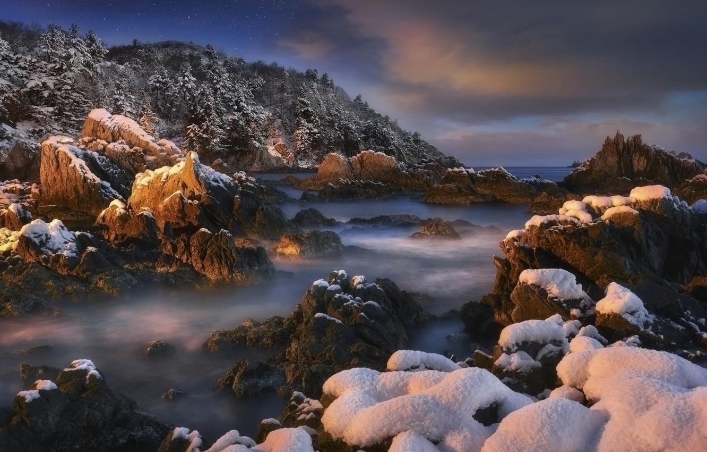 Photo wallpaper winter, sea, forest, the sky, snow, trees, landscape, night, nature, rock, stones, shore, stars, Korea, …