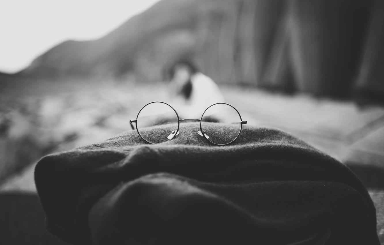 Photo wallpaper glasses, plaid, blurry