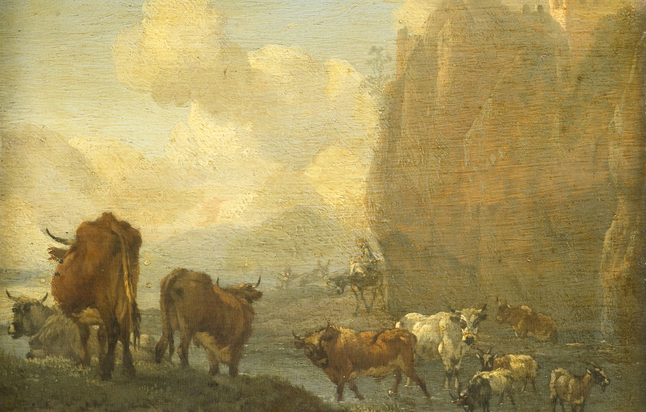 Photo wallpaper animals, oil, picture, 1694, Willem Romeyn, Herd by the River, Willem Romeyn
