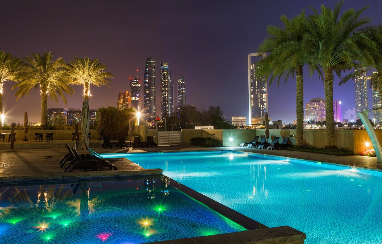 Photo wallpaper the city, lights, the evening, pool, Abu Dhabi, UAE