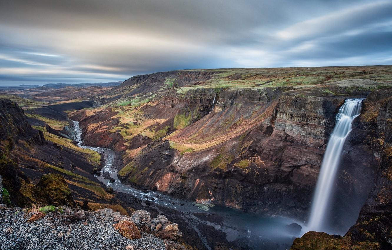 Photo wallpaper mountains, open, waterfall