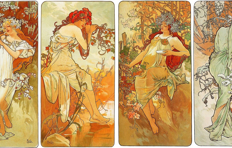 Photo wallpaper winter, autumn, summer, flowers, seasons, spring, composition, female images, Alphonse Mucha, Alfons Maria Mucha