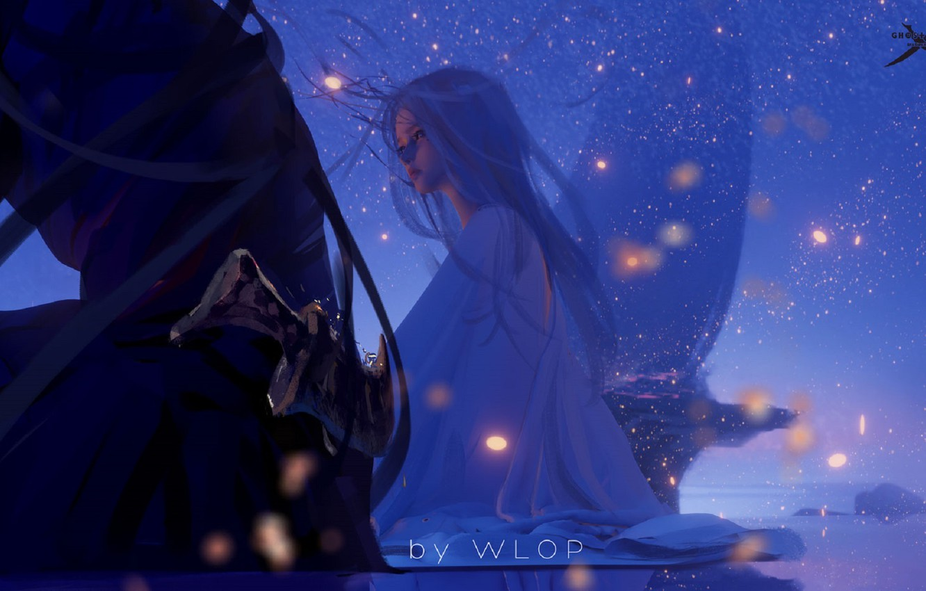 Photo wallpaper night, lights, elf, princess, Ghost Blade, Ghost Blade, by Wlop