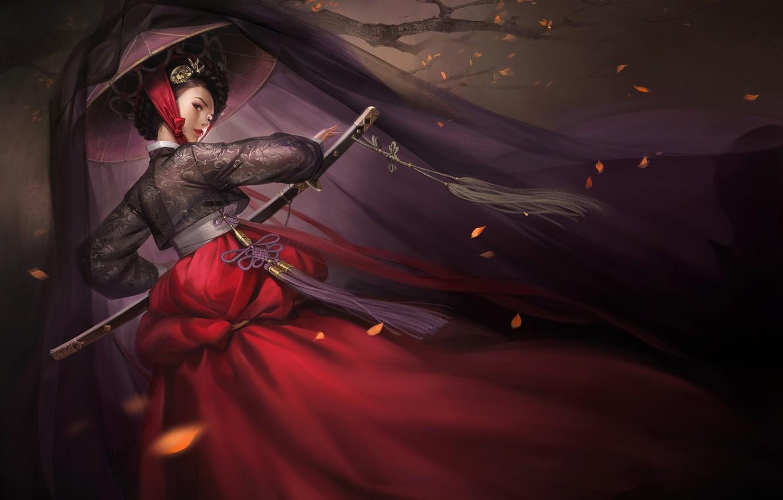 Photo wallpaper look, leaves, girl, weapons, tree, Japan, fantasy, art, art