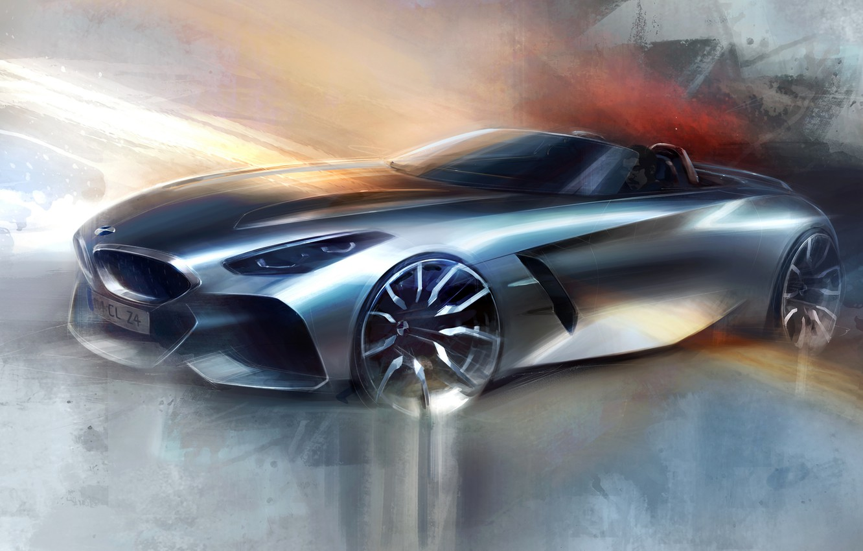 Photo wallpaper figure, silver, BMW, sketch, Roadster, BMW Z4, Z4, 2019