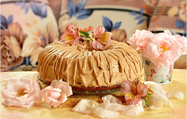 Photo wallpaper Petals, Roses, Roses, Cake, Cake, The sweetness