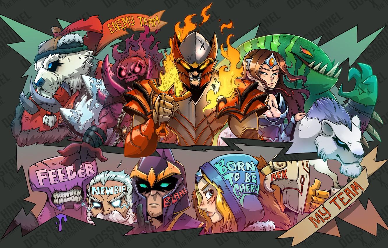 Photo wallpaper Heroes, Heroes, wtf, team, DotA, zeus, juggernaut, dota 2, DotA, Tusk, Faceless Void, Mirana, Tidehunter, …